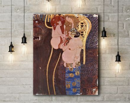 Gustav Klimt: The Beethoven Frieze: The Longing for Happiness. Fine Art Canvas.